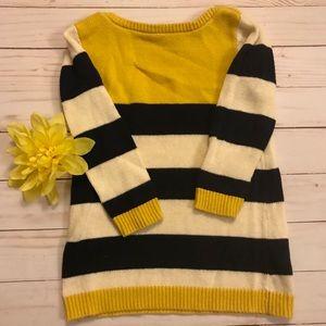 Baby Gap yellow, navy and white sweater dress 18mo